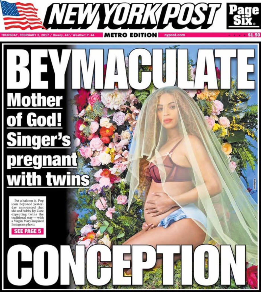 Beyonce on the front page of the of New York Post